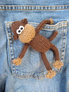 Pocket Monkey mini toy knitting pattern from fluffandfuzz