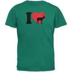 I Heart Love Deer Jade Green Adult T-Shirt