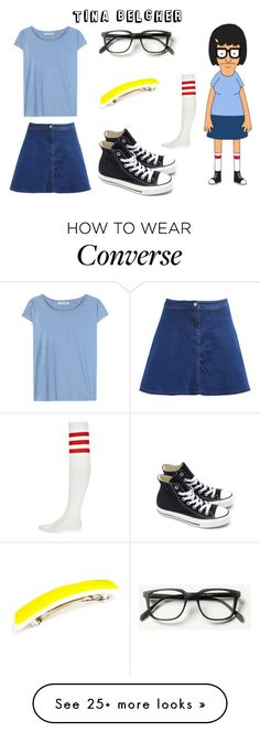 """Halloween Costume: Tina Belcher"" by ballereyna on Polyvore featuring Acne Studios, Boohoo, Converse, cosplay, bobsburgers, halloweencostume, TinaBelcher and Halloween2015"