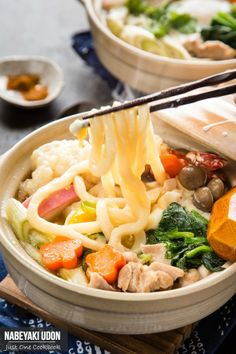 Nabeyaki Udon (鍋焼きうどん) is a hot udon noodle soup ...