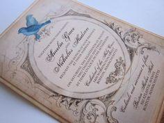 Vintage Wedding Invitation  Love Birds Sample  by anistadesigns