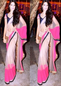 Bollywood Actress Jacqueline Fernandez Net Saree in Cream color
