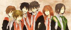 Harry Potter, James Potter, Sirius Black, Remus Lupin, Peter Pettigrew, Severus Snape, Lily Evans