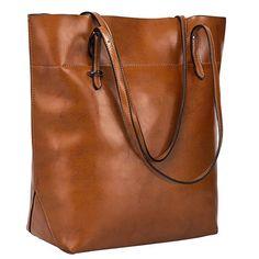 S-ZONE Vintage Genuine Leather Tote Shoulder Bag Handbag Big Large Capacity Upgraded Version - Dark Brown Shoulder Purse, Crossbody Shoulder Bag, Shoulder Handbags, Leather Purses, Leather Handbags, Leather Totes, Leather Bags, Fashion Bags, Tote Bag