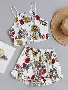 Romwe romwe tie back cami top and ruffle trim shorts co ord adorewe com Cute Comfy Outfits, Cute Summer Outfits, Trendy Outfits, Kids Outfits, Teen Fashion Outfits, Cute Fashion, Girl Fashion, Little Girl Dresses, Girls Dresses