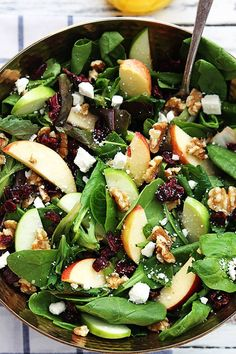 Apple Cranberry Walnut Salad LeCremeDeLaCrumb Ingredients (organic and non-GMO whenever possible!): 6 cups of leafy greens-try to include Watercress,1 red apple,1 green apple,1 cup walnuts,roughly chopped,⅓ cup crumbled feta cheese <-- no cheese for me. ⅓ cup dried cranberries  -- Dressing 1 cup apple juice 4 tablespoons apple cider vinegar 2 tablespoons honey ½ teaspoon salt ¼ teaspoon black pepper ¼ cup EVOO (unrefined, cold pressed). I never use oil on my salads, though. Just balsamic…