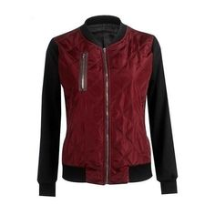 Contrast Color Diamond-Quilted Women's Baseball-Style Short Coat S-3XL