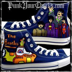Custom Hand Painted Beatles Converse Sneakers by MAG of www.PunkYourChucks.com