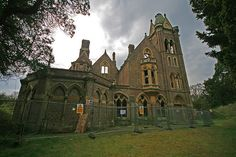 The fire ravaged gothic mansion of Hafodunos - designed by Sir George Gilbert Scott (architect of St. Pancras Station, London) in best Italianate Gothic Revival style.