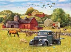 Cobble Hill A Summer Afternoon on the Farm at Tally Ho Jigsaw Puzzle Painting Tools, Diy Painting, Painting Prints, Canvas Wall Art, Canvas Prints, Tally Ho, Country Scenes, Red Barns, Vintage Trucks