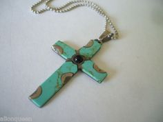 """Vintage Mexico Sterling Silver Turquoise Cross Pendant with 20"""" Chain 925 