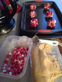 Sugar cookie dough + M&Ms = yummy cookie