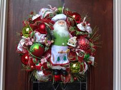 Chef Santa Holding a Gingerbread House Wreath by HertasWreaths on Etsy