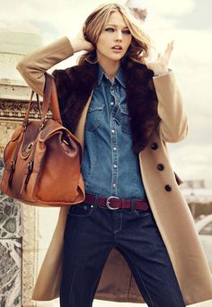 A great example of how to wear chambray with denim without looking like a rancher!