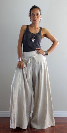 Beige women Pants wide leg pants fashion skirt pants Linen Cotton ...