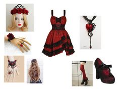 """red and black princess"" by bluesakurarose ❤ liked on Polyvore featuring Converse"