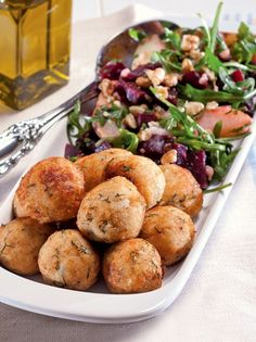 """Greek Fish """"meatballs"""". PSAROKEFTEDES Greek Recipes, Wine Recipes, Greek Cooking, Cooking Fish, Greek Fish, How To Cook Fish, Fish And Seafood, I Foods, Finger Foods"""