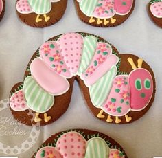Pink & green patchwork inch worm, 'Hungry Caterpillar' cookies - very cutel Cookies For Kids, Fancy Cookies, Iced Cookies, Cute Cookies, Sugar Cookies, Cookies Decorados, Galletas Cookies, Iced Biscuits, Cookies Et Biscuits