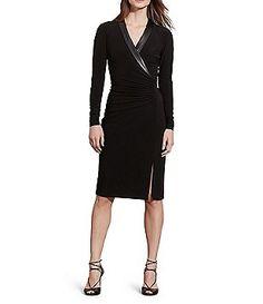Lauren Ralph Lauren Shirred V-Neck Faux-Leather Trim Jersey Dress - Dillards