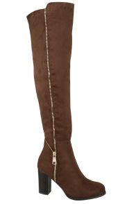 BROWN FAUX SUEDE ZIPPER DESIGN OVER THE KNEE BOOT #boots #overthekneeboots #brownboots #suedeboots #chunkyheelboots