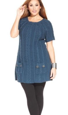 STYLE & CO CABLE KNIT SWEATER TUNIC DRESS - TEAL - PLUS SIZE 1X #StyleCo #TunicSweaterDress