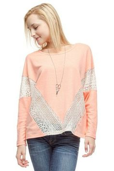 Love this boho top with crochet accents.