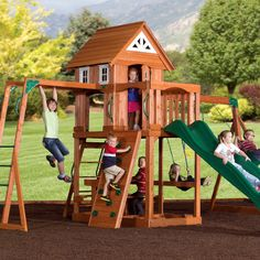 Now A Proud Dealer of Swing Sets and Play Gyms from Backyard Adventures! A backyard play gym or swing set is a great place for children to hang out and play, bu Playhouse Outdoor, Outdoor Play, Outdoor Living, Outdoor Spaces, Best Swing Sets, Cedar Swing Sets, Family Leisure, Swing And Slide, Backyard Playground
