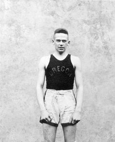 Black and white photo of University of Oregon basketball player Eddie Durno taken in 1919. Durno was the first All-American basketball player from the University of Oregon. Picture appears on page 149 of the 1919 Oregana.