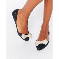 Melissa Trippy Bow Point Flat Shoes (£51) ❤ liked on Polyvore featuring shoes, flats, black, pointed flat shoes, black slip on shoes, black pointy flats, pointed toe bow flats and black pointed flats