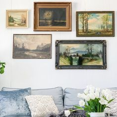 With Spring just around the corner, I thought I'd share our Spring living room refresh. I really wanted to make… Leather Living Room Set, Living Room Red, Living Room Photos, Vintage Landscape, Rustic Art, Picture Frames, Gallery Wall, Monogram Wall, Artwork
