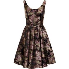 Chi Chi London metallic floral dress ($96) ❤ liked on Polyvore featuring dresses, women, fit and flare dress, collar dress, scoop neck dress, brocade dress and skater dress
