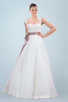Airy Queen Ann Neckline A-line Bridal Gown with Delicate Appliques and Contrasting Sash