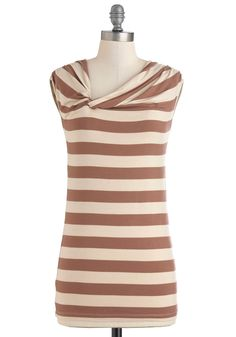 Twist Cone Top - Brown, Tan / Cream, Stripes, Casual, Cap Sleeves, Mid-length, Jersey, Top Rated