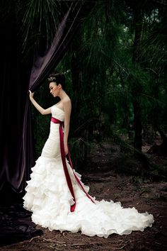 Tiered Trumpet / Mermaid Style Organza Wedding Dress with Long Sash   Read More:     http://www.weddingsred.com/index.php?r=tiered-trumpet-mermaid-style-organza-wedding-dress-with-long-sash.html