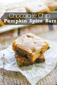 These Chocolate Chip Pumpkin Spice Bars are a cinch to make. The secret is using a cake mix! That wonderful fall flavor of pumpkin spice comes right throug