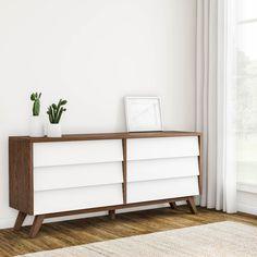 Teen Dresser, Brown Dresser, Bedroom Furniture Stores, Furniture Deals, Bedroom Decor, Small Space Office, Small Spaces, Calendar Home, Mid Century Dresser