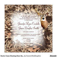 Rustic Camo Hunting Deer Antlers Wedding Invites