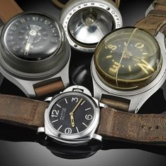 An amazing collection of vintage #Panerai pieces by buddy @vanni68. Includes the watch, depth gauge, compass, and flash light. #PaneraiCentral