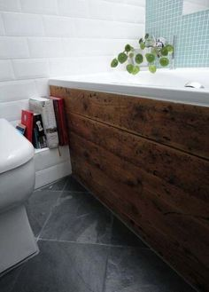 Wood or tiled bath panel. That is the question Wooden Bath Panel, Tiled Bath Panel, Wood Panel Bathroom, Dark Wood Bathroom, Bath Front Panel, Wood Bathtub, Bad Inspiration, Bathroom Inspiration, Upstairs Bathrooms