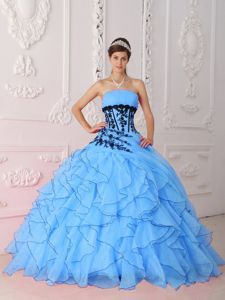Strapless Aqua Blue Military Ball Gown Appliques and Ruffles