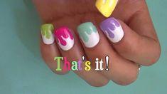 multi colored nails with white splatter. #unique  www.beautifulnaildesigns.com