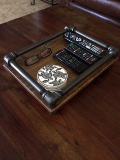 Industrial iron pipe and hardwood coffee table/ bathroom/ bedside accessory tray