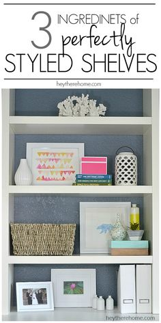 So helpful! An easy walk through of the steps to styled shelves and she even shows how she doesn't get it right the first time, and the easy tips that got her to loving her shelves! Easy Home Decor, Cheap Home Decor, Decorating Tips, Decorating Your Home, Decorating Bookshelves, Bookcase Styling, Best Kitchen Designs, Home Improvement Projects, Home Organization