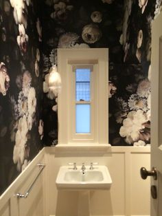 Dark floral from Ellie Cashman Designs. Wallpaper hung by The Tradesman's Finish…
