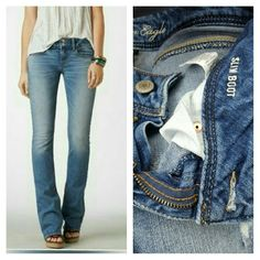 **BOGO American Eagle | Stretch Slim Boot Cut | slight distressed look shown in pics 3+4 | Size 6 long | minimal wear on hem, good used condition American Eagle Outfitters Jeans Boot Cut