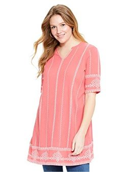 Our plus size gauze caftan tunic should be at the top of your list for fair weather dressing. Beautiful colors and lavish embroidery make it a delight to the eyes. The breezy gauze fabric keep you cool all season. Trendy Fashion, Fashion Outfits, Gauze Fabric, Spring Summer Fashion, Plus Size Outfits, Plus Size Women, Dressing, Tunic Tops, Clothes