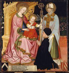 GZ Master (Ferrara inizio 15° sec.) - Madonna col Bambino e il donatore, Pietro de 'Lardi, presentato da San Nicola - ca. 1420-1430 - Tempera e oro su tavola - The Metropolitan Museum of Art.