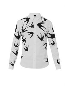 MCQ ALEXANDER MCQUEEN Swallow-print cotton shirt - was $394.0, now $275.0 (30% Off). Picked by olga @ MATCHESFASHION.COM