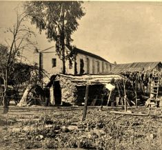 Tongva settlement at the San Gabriel Mission, San Gabriel, California - Circa 1885