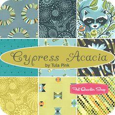 Raccoon fabric!!!!    Cypress Acacia Fat Quarter Bundle Tula Pink for Free Spirit Fabrics - Fat Quarter Shop